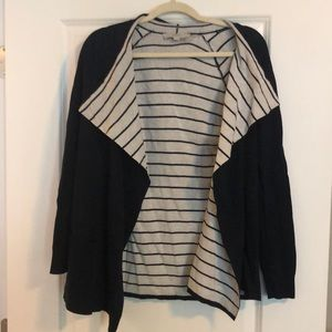 Loft Navy and Striped Fly Away Sweater